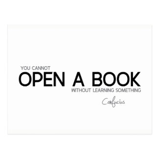 Cartão Postal CITAÇÕES: Confucius: Abra um livro