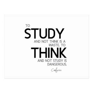 Cartão Postal CITAÇÕES: Confucius: Para estudar, para pensar