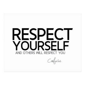 Cartão Postal CITAÇÕES: Confucius: Respeito você mesmo