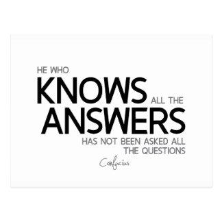 Cartão Postal CITAÇÕES: Confucius: Sabe todas as respostas