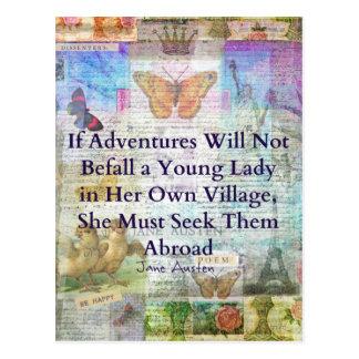 Cartão Postal Citações da aventura do viagem de Jane Austen