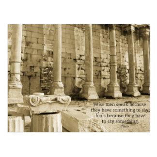 Cartão Postal Citações da filosofia de Plato sobre tolos e