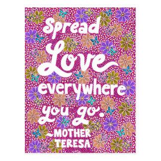 Cartão Postal Citações da tipografia do amor das flores e das