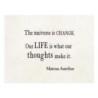 Cartão Postal Citações da vida da mudança do universo de Marcus