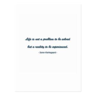 Cartão Postal Citações da vida por Soren Kierkegaard - a vida