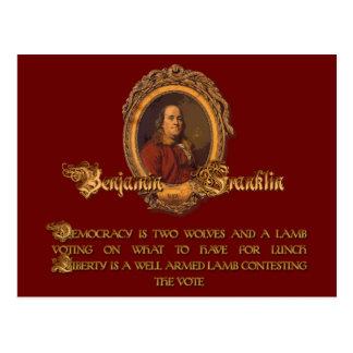 Cartão Postal Citações de Ben Franklin: Dois lobos e um cordeiro