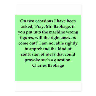 Cartão Postal Citações de Charles Babbage