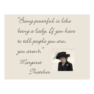 """Cartão Postal Citações de Margaret Thatcher """"que são poderosas…"""