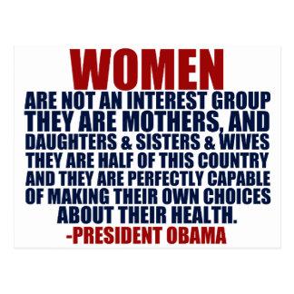 Cartão Postal Citações de Obama dos direitos das mulheres