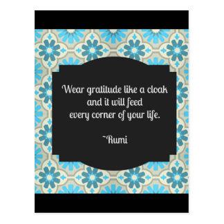Cartão Postal Citações de Rumi da gratitude