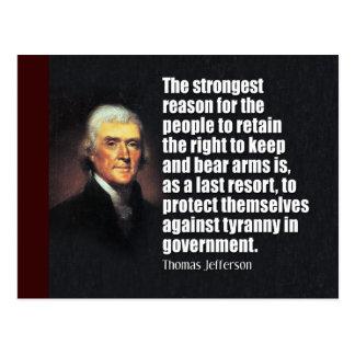 Cartão Postal Citações de Thomas Jefferson