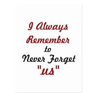 Cartão Postal Citações do amor - eu recordo sempre esquecer-nos
