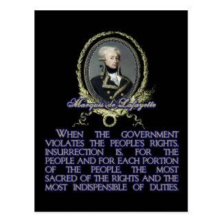 Cartão Postal Citações do de Lafayette do marquês na revolta