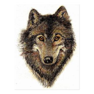 Cartão Postal Citações do lobo e do bloco - coleção animal