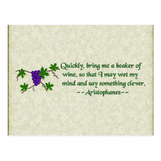Cartão Postal Citações do vinho de Aristophanes