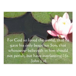 Cartão Postal Citações inspiradas cristãs do 3:16 de John