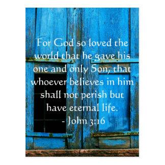 Cartão Postal Citações inspiradas da escritura do 3:16 de John