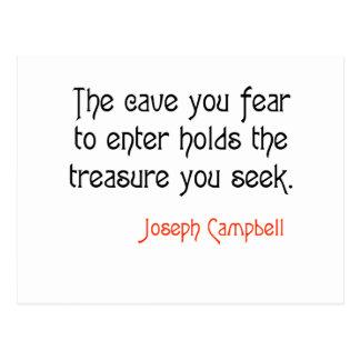Cartão Postal Citações inspiradas de Joseph Campbell da caverna