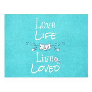 Cartão Postal Citações inspiradas do amor e da vida