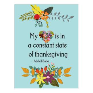 Cartão Postal Citações inspiradas florais do coração grato