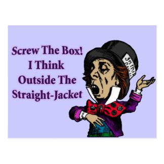 Cartão Postal Citações inspiradores engraçadas do Hatter louco