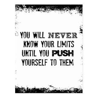Cartão Postal Citações inspiradores: Nunca saiba seus limites