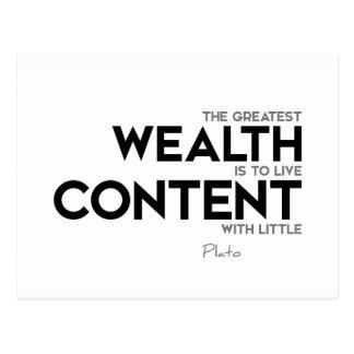 Cartão Postal CITAÇÕES: Plato: A grande riqueza