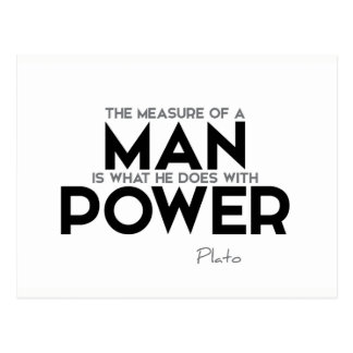 Cartão Postal CITAÇÕES: Plato: Medida de um homem, poder