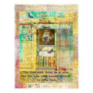 Cartão Postal CITAÇÕES que de Shakespeare o doth do tolo pensa
