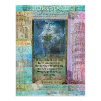 Cartão Postal Citações românticas de Shakespeare de Romeo e de