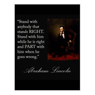 """Cartão Postal Citações """"suporte de Abraham Lincoln com qualquer"""