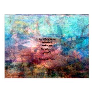 Cartão Postal Citações Uplifting de Rumi sobre a energia e o