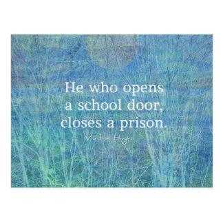 Cartão Postal Citações Victor Hugo do ensino do professor da