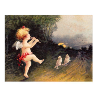 Cartão Postal Clapsaddle: Querubim pequeno com flauta