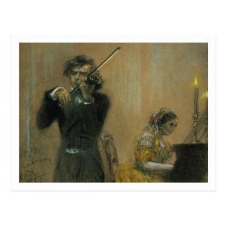 Cartão Postal Clara Schumann (1819-96) e um violinista, 1854 (pa