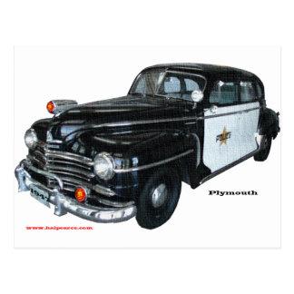 Cartão Postal Classic_1947_Plymouth_Police_Car_Texturized