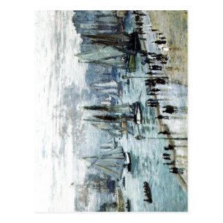 Cartão Postal Claude Monet, barcos de pesca que saem do porto,