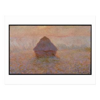 Cartão Postal Claude Monet | Grainstack, Sun na névoa