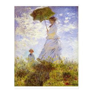 Cartão Postal Claude Monet - mulher com o parasol