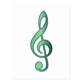 Cartão Postal Clef de triplo do verde de jade