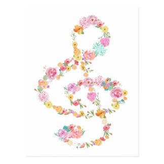 Cartão Postal clef de triplo floral romântico da música