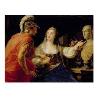 Cartão Postal Cleopatra que mostra a Octavius o busto de Julius
