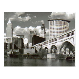 Cartão Postal Cleveland Ohio preto e branco