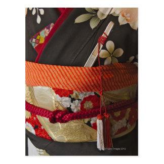 Cartão Postal Close up do quimono, vestido tradicional do