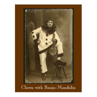Cartão Postal clownwbanjomando, palhaço com Banjo-Bandolim