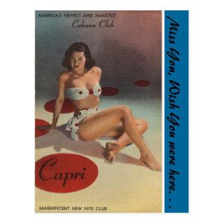 Cartão Postal Clube da cabana de New York, Capri, clube nocturno