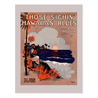 Cartão Postal Cobrir 1916 da partitura dos azuis de Havaí do