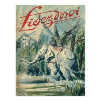 Cartão Postal Cobrir, Lisez-Moi, elefante no trabalho