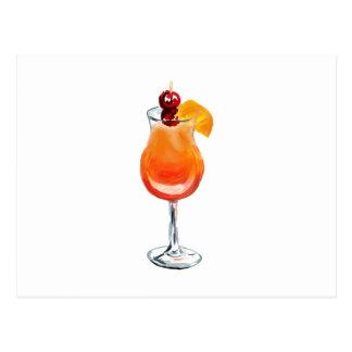 Cartão Postal Cocktail do nascer do sol do Tequila da aguarela