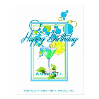 Cartão Postal Cocktail vívido do aniversário das cores do quadro